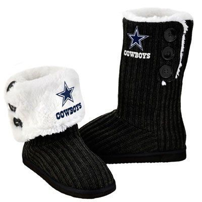 NFL Football Ladies Knit High End Button Boot Slippers - Black (Dallas Cowboys Large)