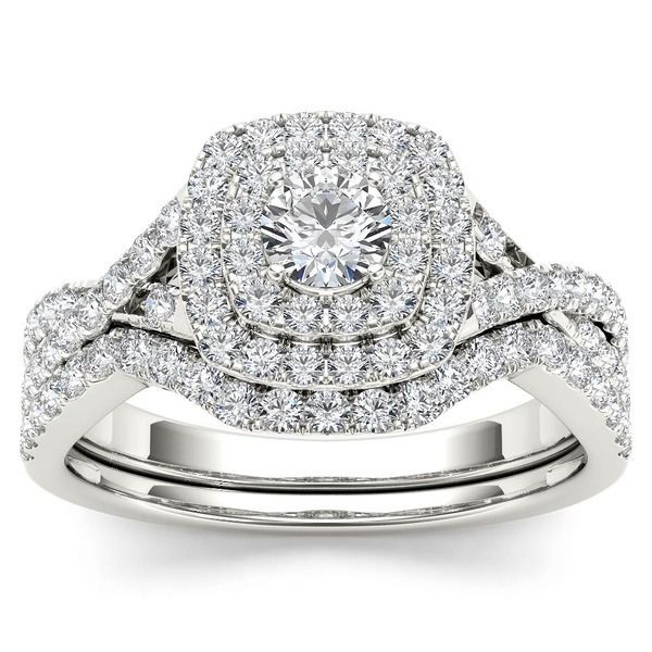 De Couer 10k White Gold 7/8ct TDW Diamond Double Halo Bridal Ring Set (H-I, I2)