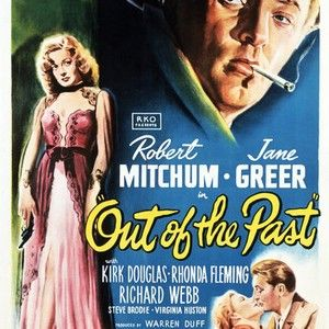 This quintessential film noir made contract player Robert Mitchum a star and set the standard for the genre for years to come. Private eye Jeff Bailey (Robert Mitchum) is hired by notorious gangster Whit Sterling (Kirk Douglas) to find his mistress, Kathie Moffett (Jane Greer), who shot him and ran off with $40,000. Jeff traces Kathie to Mexico, but when he meets her he falls in love and willingly becomes involved in an increasingly complicated web of double-crosses, blackmail, and murder…