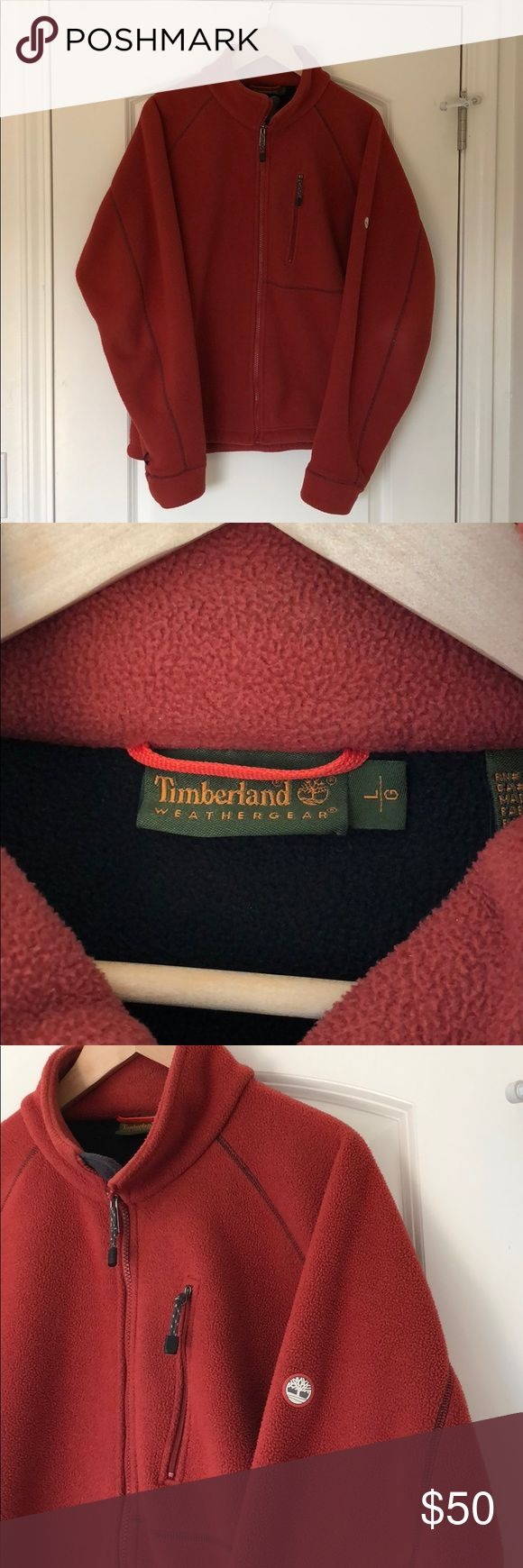 Men's burnt orange Timberland jacket Very warm and cozy men's Timberland jacket in burnt orange. Zippered breast pocket, jacket is in great shape Timberland Jackets & Coats