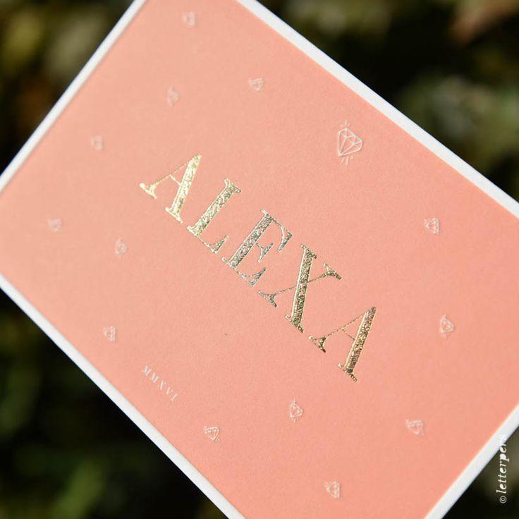Letterpress geboortekaartje Alexa in goudfolie voor België