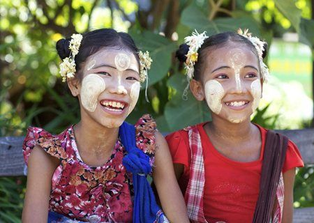 Children wearing traditional Thanaka cream, Bagan.  http://www.insightguides.com/destinations/asia-pacific/burma-myanmar/overview  Photo by Stephen Bures