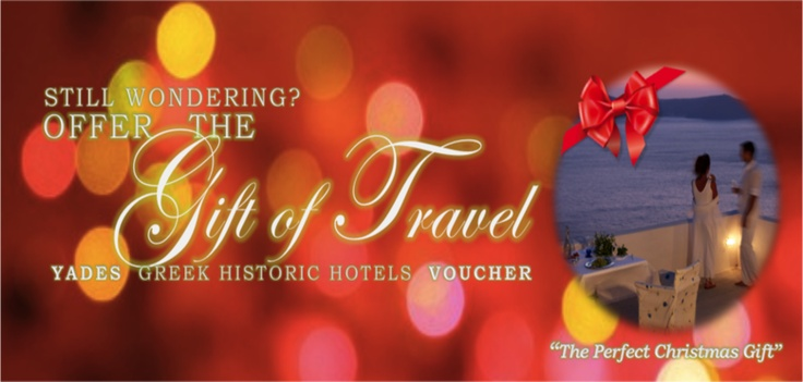 Make a Wonderful Travel Present!Treat your loved ones with a special gift for this Holidays! http://yadeshotels.gr/perfect-gift