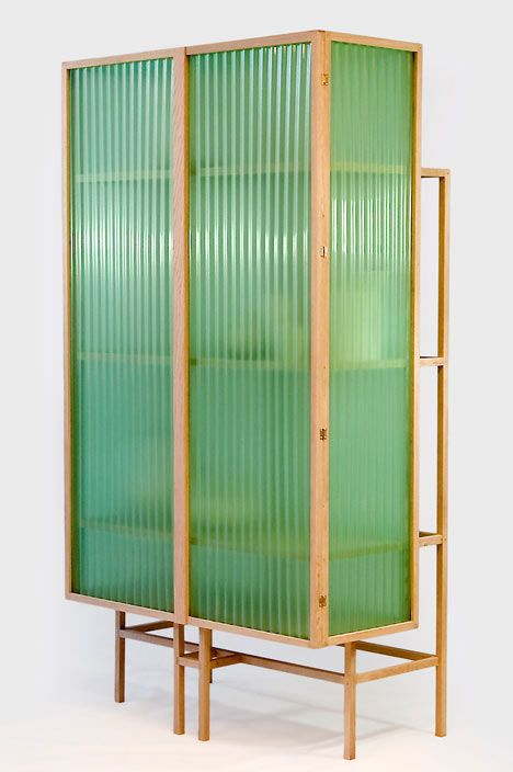 Sine Cabinet, in oak and translucent corrugated PVC, by Dik Scheepers http://www.dikscheepers.nl/