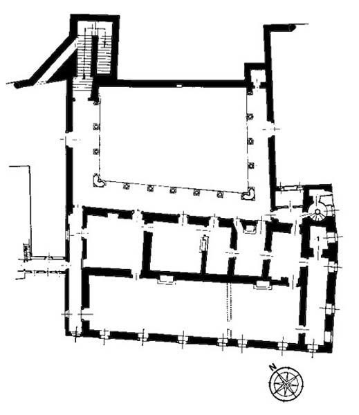 Plan of Gubbio ducal palace, with studiolo noted as Room 1.