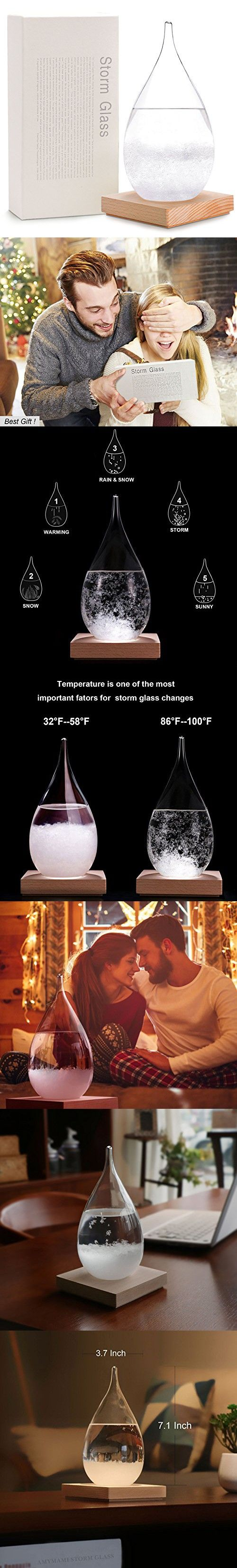 Amymami Storm Glass Weather Predictor Large (7.1''x3.7''x3.7''),Creative Desktop drops Weather Glass Bottle Forecaster Barometer,Weather Station Crafts Home Office Decor