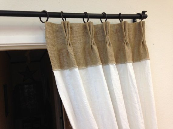 Burlap White Linen Pinch Pleat Drapes With Tie Back By