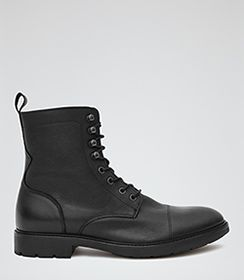 Pablos Black Leather Military Boots - REISS