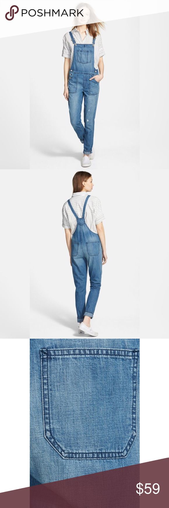 Madewell Park Overalls in Dixon Wash XS Classic bib-and-brace overalls woven from rigid denim recall classic pastoral style. Engraved silvertone hardware and light allover distressing enhance this heritage look. Adjustable straps with buckle closure. Three-button closure at sides. Four-pocket style, plus bib pocket. 100% cotton. Machine wash. By Madewell Madewell Pants Jumpsuits & Rompers