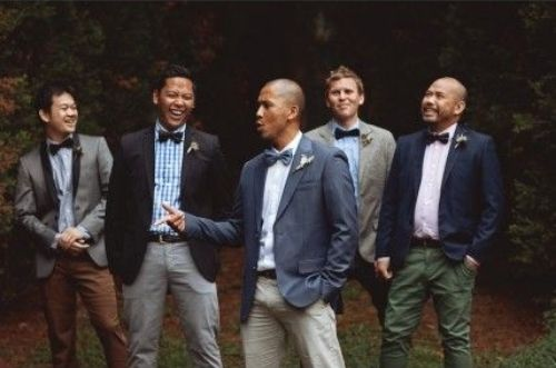 Groom Groomsmen Mix and Match Suits Blue Brown Khaki Bow Tie Gray_Go Bespoke