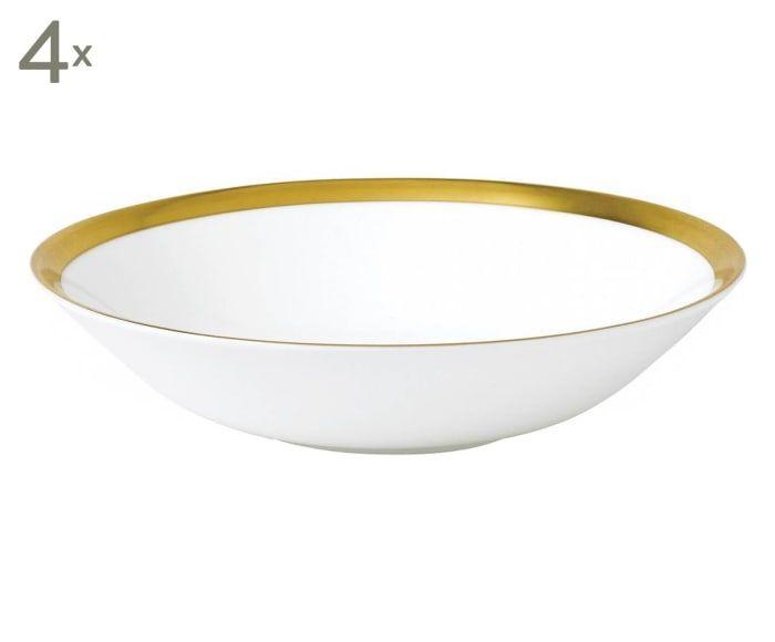 Fine Bone China-Müslischalen Jasper Conran Gold, 4 Stück