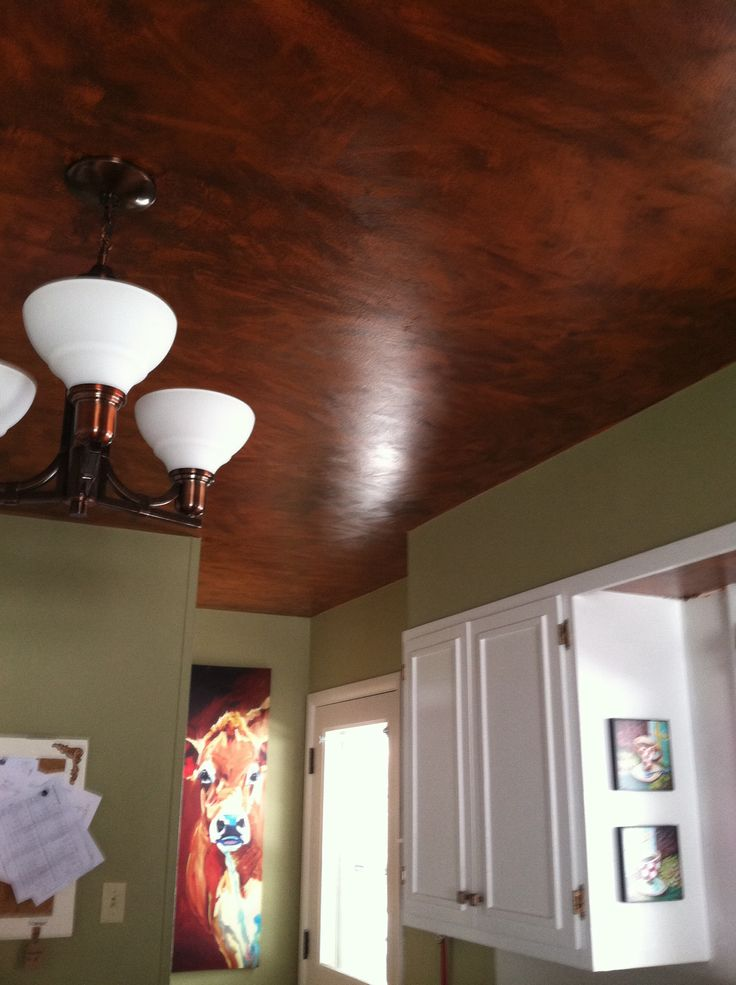 Copper DIY ceiling I painted the ceiling first. The paint color was called Copper, but it looks more orange! panicked at fir…   Diy ceiling ...