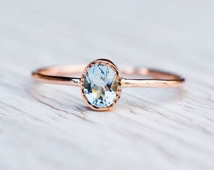 18k Rose gold aquamarine ring, Engagement ring, Anniversary gift for her, March birthstone, 18k gold handcrafted jewelry, handmade by Arpelc