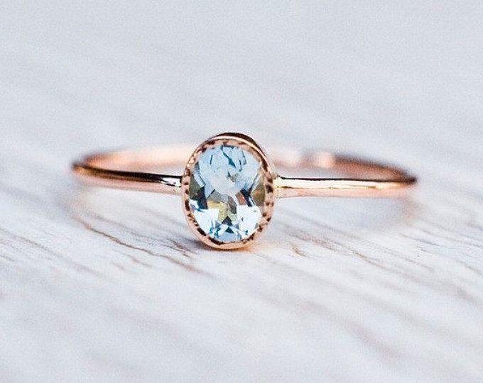 18 k Rose oro aguamarina anillo, anillo de compromiso, joyas de aniversario regalo para ella, birthstone marzo, oro 18k hechos a mano, hechos a mano por Arpelc