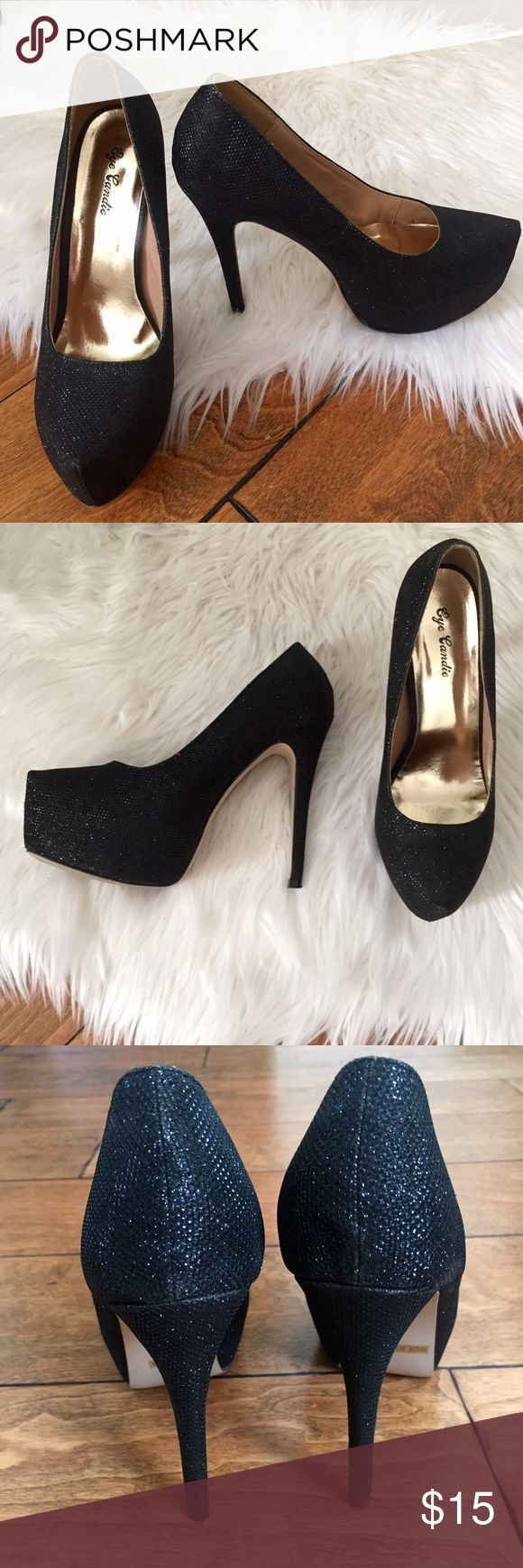"""SPARKLY BLACK HEELS Only worn twice. 5"""" heel with 1.5"""" platform. Fantastic condition! Eye Candie Shoes Heels"""