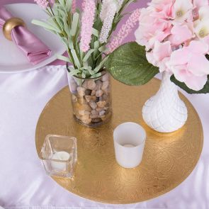 Round Metallic Gold Filigree Floral Placemats
