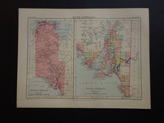 South Australia map  1887 original antique old by DecorativePrints