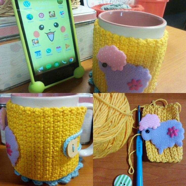 Mug Cover with 3,5mm hook pen #mugcover #cutemug #crochet #crocheting