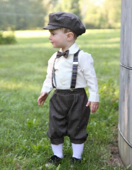 Boys Vintage Plaid 5 Pc Knicker Pant Set With Suspenders