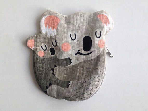 Koala Bear Coin Purse Koala bag Koala pouch Cotton by kaeselotti