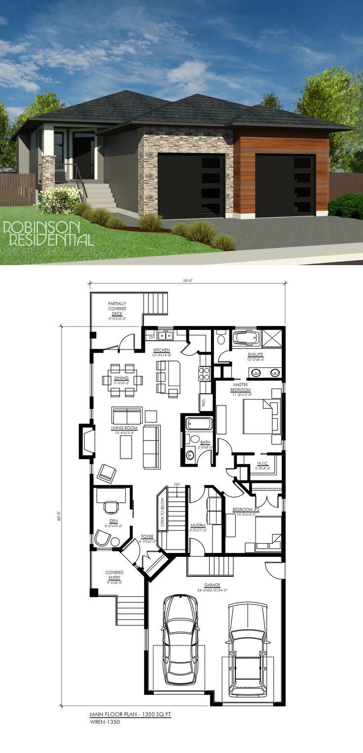 Contemporary Wren1350 House plans Modern house plans Pole