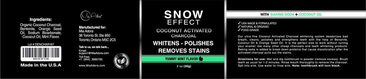 Best Teeth Whitening Activated Charcoal with Coconut - Natural Teeth Whitening at Home - Mint Flavor - Snow Effect by Mia Adora