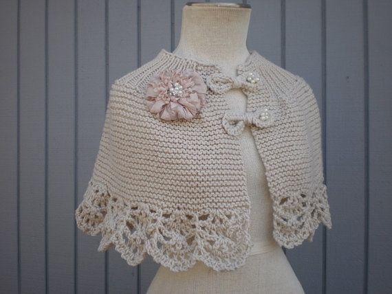 free shipping Bridal Off White Romantic Capelet por deniz03