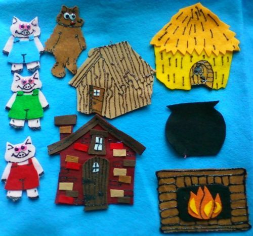 The Three Little Pigs and The Big Bad Wolf Flannel Board Felt Board Story Set | eBay