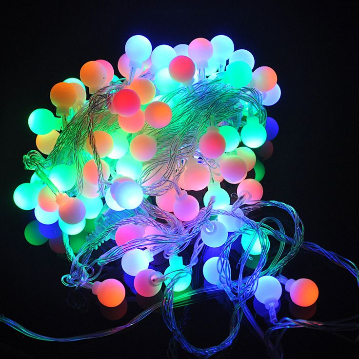100PCS 10M  Christmas Colorful RGB Round Ball Fairy LED String Party LED Twinkle Ball Party Tree Lig-  Item Type: Beads  Voltage: 220V  Plug Type: EU Plug  Brand Name: BORUIT  Model Number: EHG0316  Power Source: AC  Shape: Round  Waterproof: No  Apply for : New Year's Day  Warranty: 1 Year Warranty  Is Dimmable: YES  Is Bulbs Included: YES  Color: : Changeable Lights  Light Source: : RGB LED Bulbs  Body Material: : Plastic  Lamp Model Number : 100LED 6W  Length : 10 Meter -   Related…