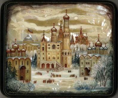 Kholui School  Title: Cathedrals of Moscow Kremlin  Artist: Zhukov A.  Size (cm): 15x13x3  Size (inches): 5.5x5x1.25  Price: 625  Sale 325