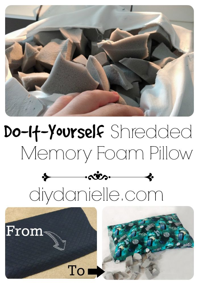 It's easy to make a shredded memory foam pillow from an upcycled solid memory foam pillow. Read the tutorial.