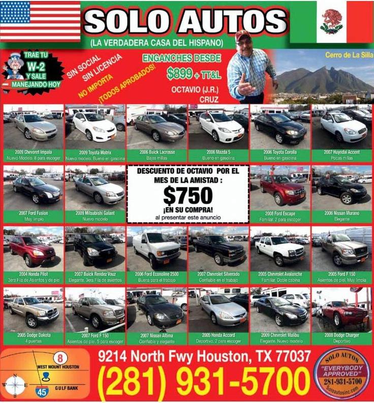 $750 de Descuento por el mes de la Amistad, tu amigo Octavio Cruz te espera en Solo Autos