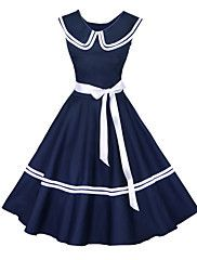 Maggie Tang Women's 50s Vintage Nautical Sailor Rockabilly Hepburn Pinup Business Swing Dress 526