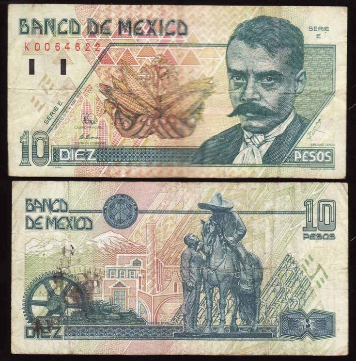 Series D Mexican 10-peso banknote, featuring Emiliano Zapata on the obverse side, and the scenery of Morelos on the reverse side.