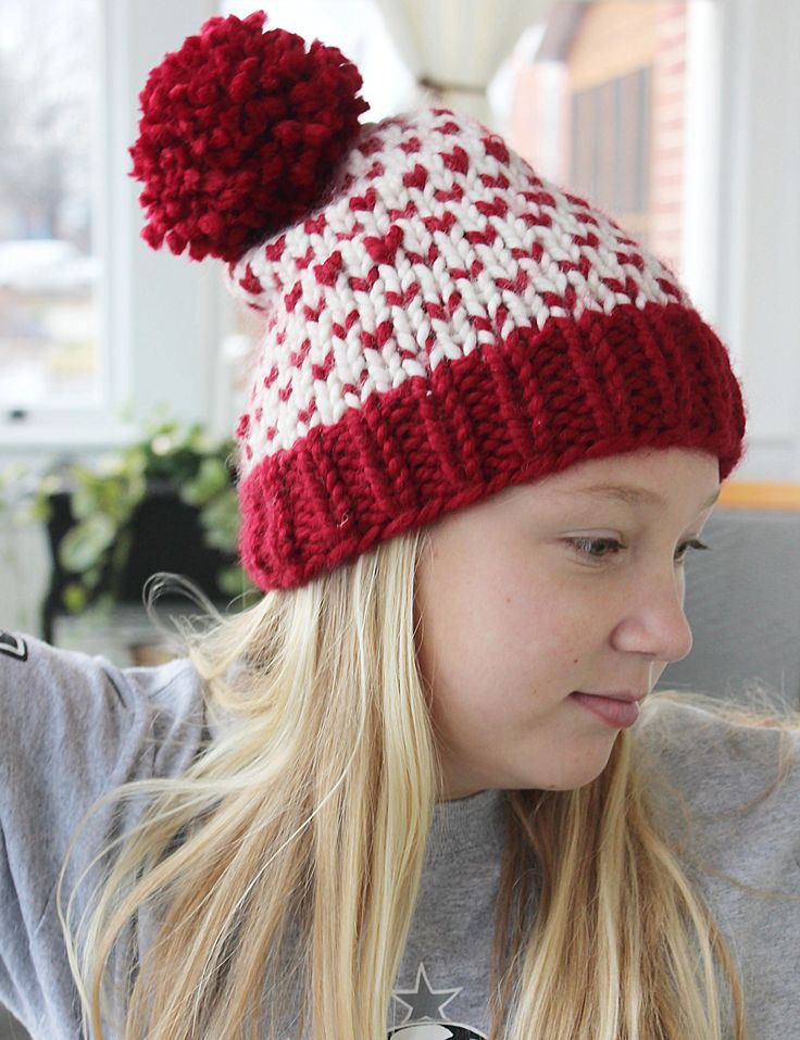 "This Pom hat is covered with little red ""hearts"" - perfect for Valentine's Day!"
