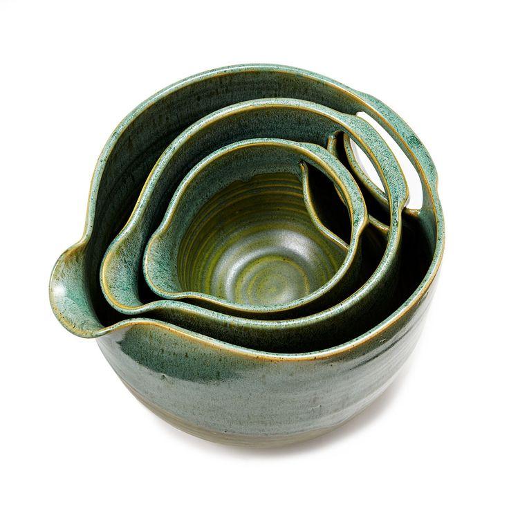 NESTING STONEWARE MIXING BOWLS - SET OF 3 | stoneware, bowl set, cookware, serveware | UncommonGoods