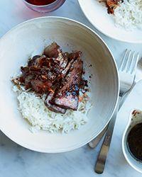Strip Loin Steaks with Garlic-Sake Sauce