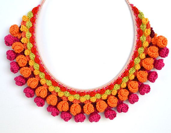 pink orange crochet necklacecrochet jewelry setpink by Marmotescu