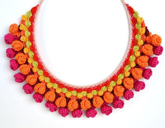 pink orange crochet necklacecrochet jewelry setpink by Marmotescu