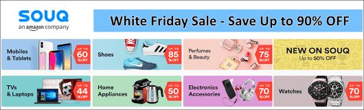 Souq White/Black Friday Sale Coupon & Discount Code Get free White Friday/Black Friday Sale #coupons, offers, promo code and discount codes from #UAEPayingless and save up to 90% on your online #shopping in UAE.
