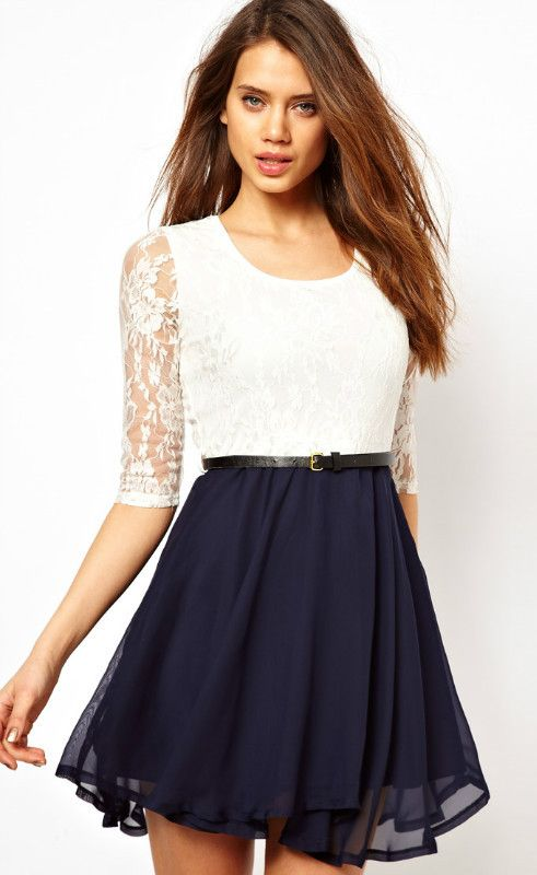 White Half Sleeve Lace Contrast Navy Chiffon Belt Dress