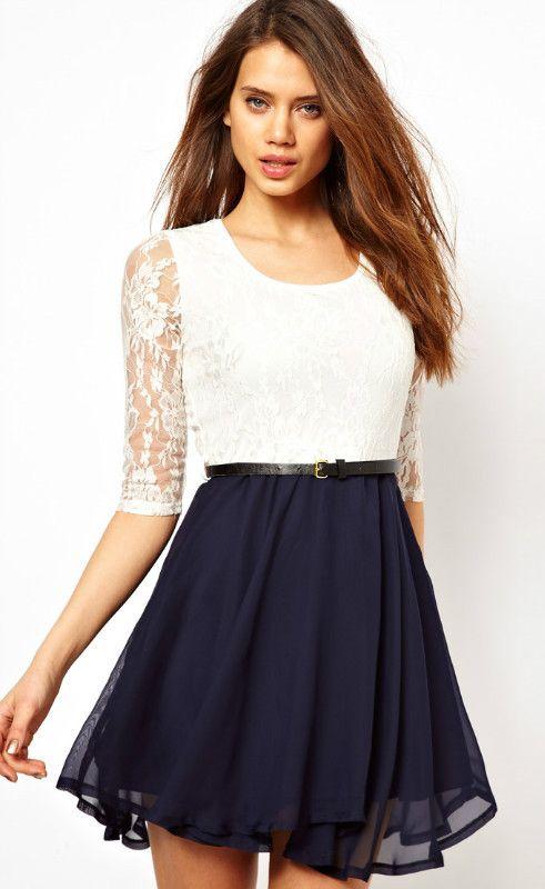 White Half Sleeve Lace Contrast Navy Chiffon Belt Dress