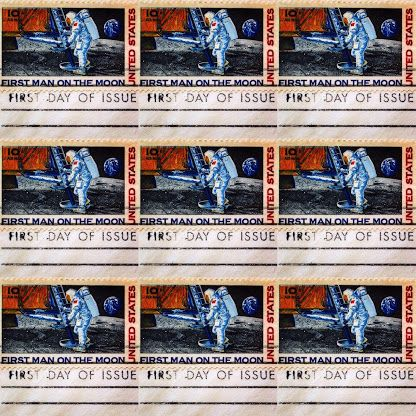 Vintage stamps by the USPS celebrating Neil Armstrong's first step on the moon during the Apollo 11 moon landing. #neilarmstrong #nasa #astronaut #moonlanding #apollo11