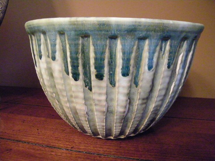 McCarty Pottery Merigold, MS Jade Green and Nutmeg HUGE Cotton Row Bean Bowl NEW