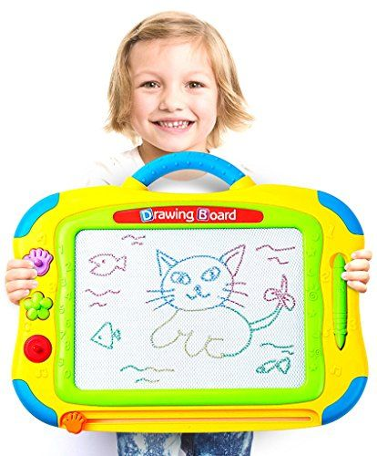 """Magnetic+Drawing+Board+for+Kids+–+Large+Size+(+22""""+x+13.2"""")+–+4+Color+Display+(with+8+color+zones)+–+Etch+/+Sketch+/+Writing+/+Doodle+Pad+For+Toddlers,+Learning+and+Creative+Toys+for+2++Years+Old"""