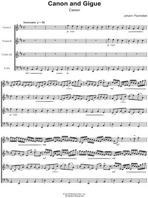 Save More Play More with Sheet Music Collections! Print Canon and Gigue in D Major (complete) arranged for Violin 1, Violin 2, Violin 3, Viola and Cello by Johann Pachelbel at Musicnotes.com.