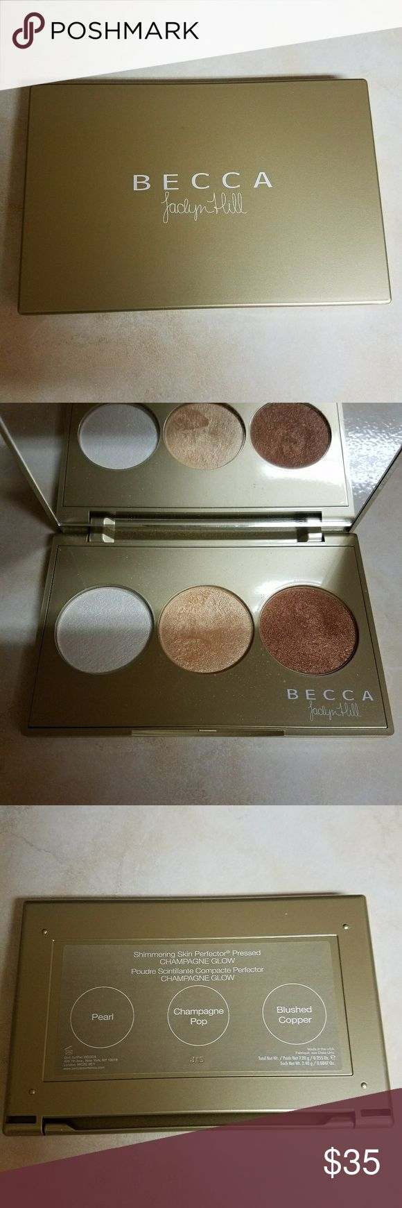 Becca X Jaclyn Hill highlight palette 2 beautiful Becca highlighters Jaclyn Hills limited edition Champagne Pop and original Opal 1 blush. Collectors Item for JH fans!  Very little product has been used. This palette has been properly sanitized. Former MUA and now I am a stay at home mama.. no girl needs this much makeup. This is from my personal collection not used on clients. BECCA Makeup Luminizer