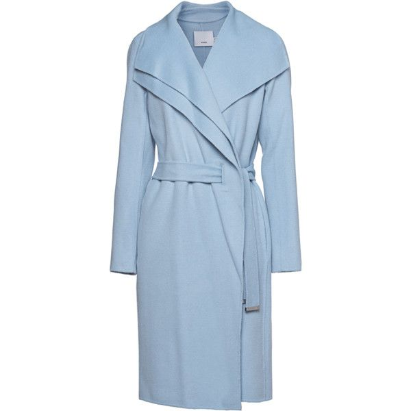 VINCE Face Drape Neck Light Blue // Wool mix coat with double collar ($840) ❤ liked on Polyvore featuring outerwear, coats, jackets, collar coat, light blue coat, asymmetrical coat, vince coat and blue coat
