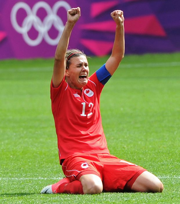 Canada's Christine Sinclair celebrates a 1-0 victory over France in the bronze medal match.