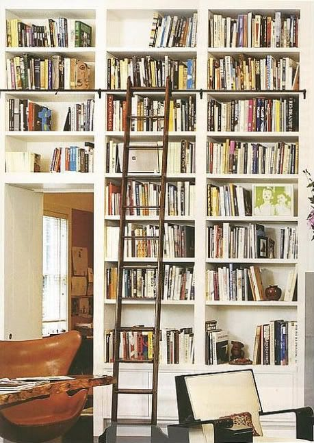 'Library' for books! The ladder is key. Again, natural wood against lighter tone